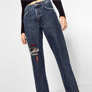 Zara High Waisted Patch Mom Jeans